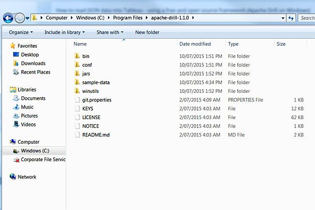 Apache Drill install folder