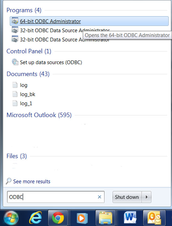 How to open odbc data source administrator in windows 7